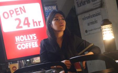 Cute Ladyboy in Thailand Coffee Shop